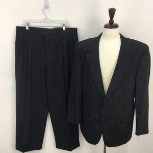 Christian Dior Black Lined Wool Buttoned Suit Set